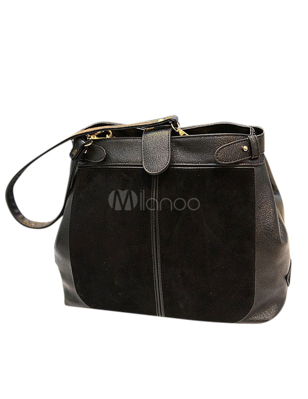 Stylish PU Leather Fur Small Front Button Woman's Hobo Bag