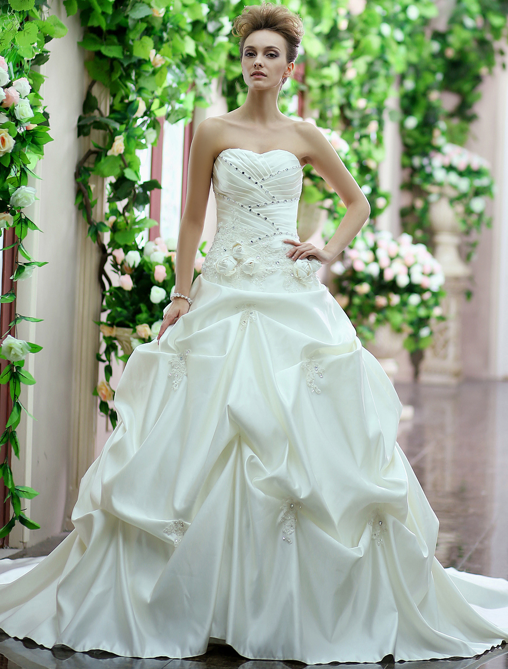 Ivory Ball Gown Sweetheart Ruched Satin Bridal Wedding Gown Milanoo