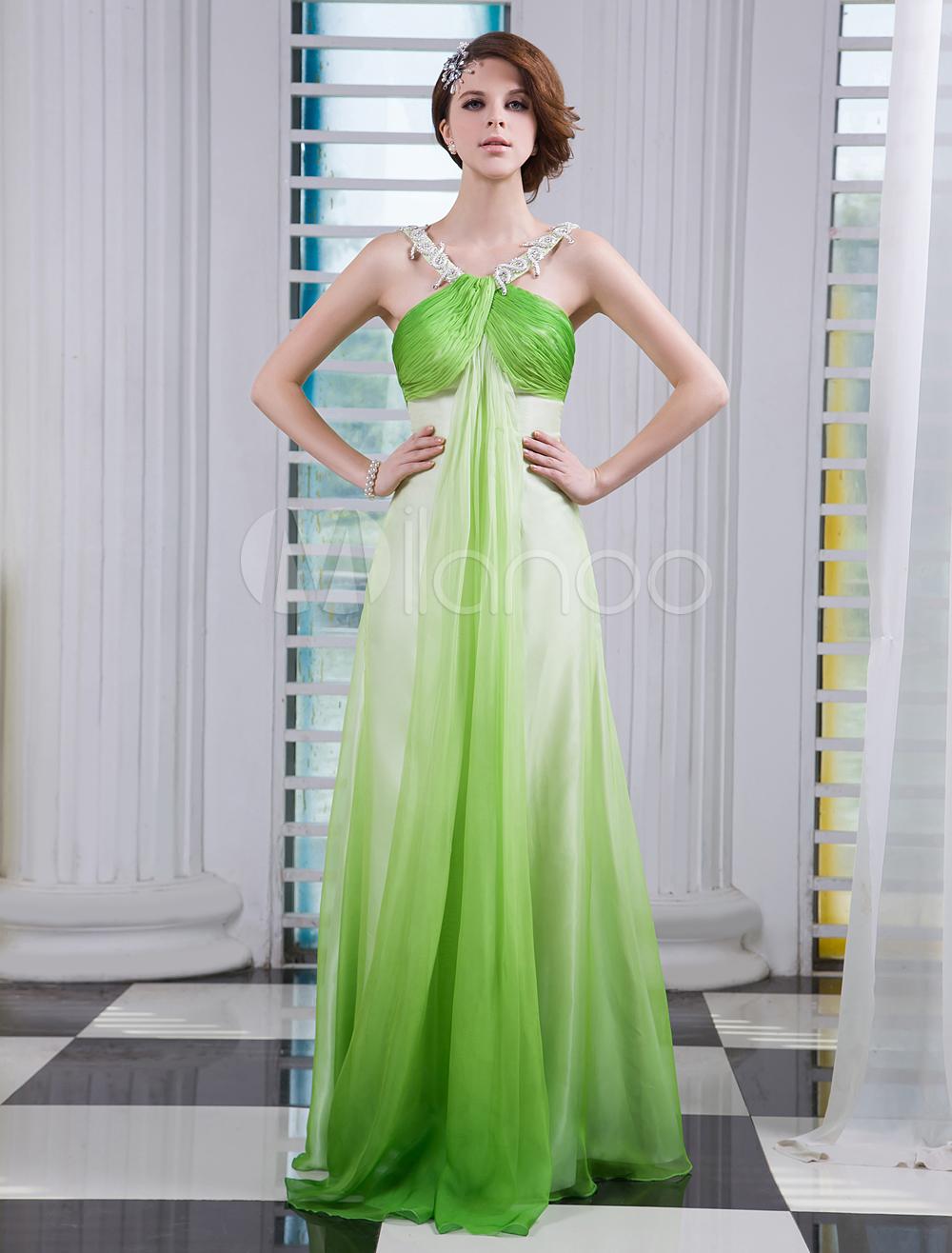 Green Halter Sleeveless Rhinestone Sheath Chiffon Prom Dress Milanoo (Wedding Prom Dresses) photo