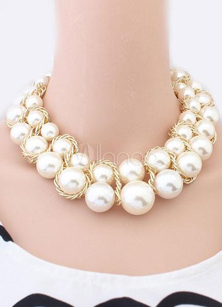 Encantador collar de abalorios moda imitación de la perla ,No.3