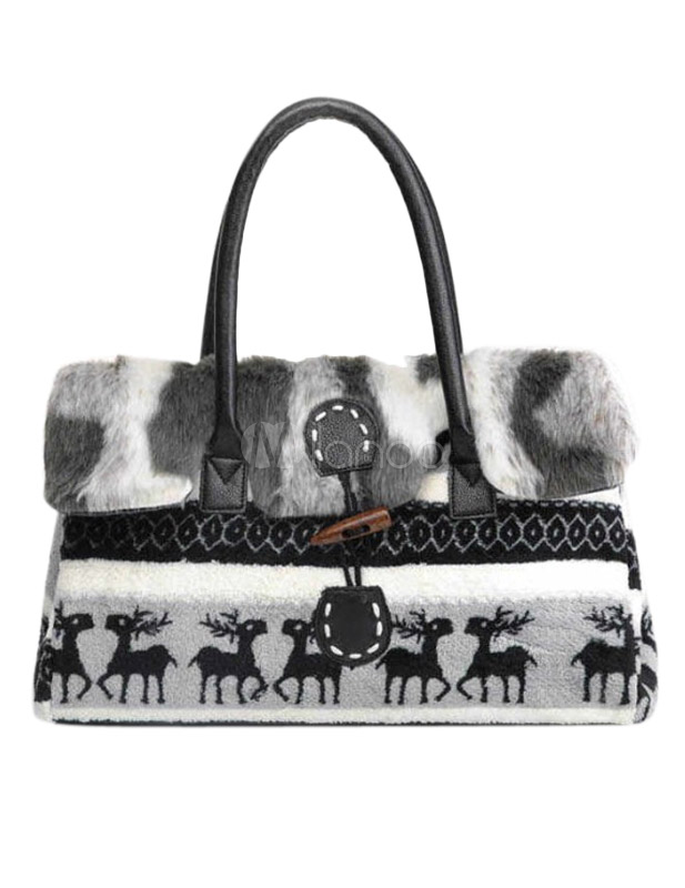 Black Fur Faux Fur Fashion Tote Bag for Women