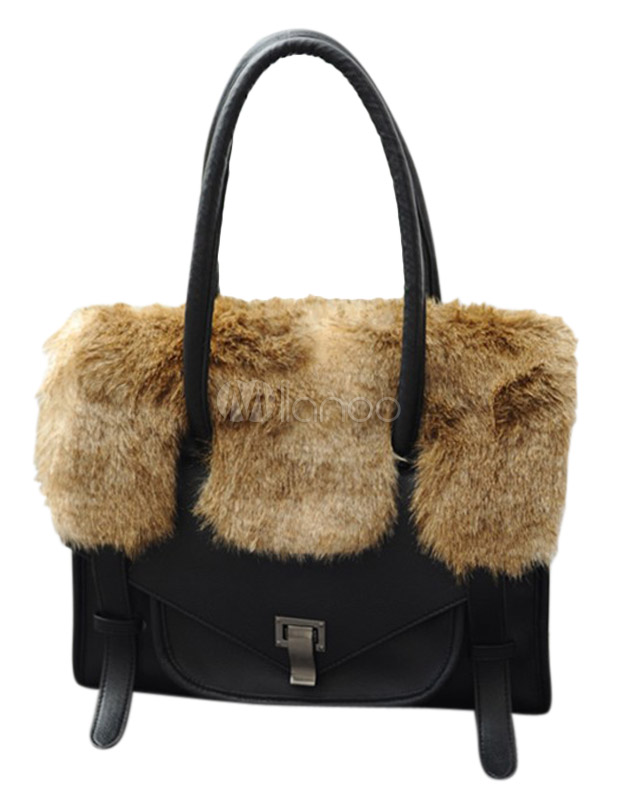 Black Fur PU Leather Charming Women's Tote Bag