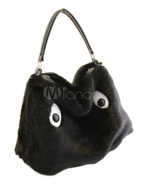 Black Faux Fur Cartoon Characters Print Zipper Woman's Hobo Bag