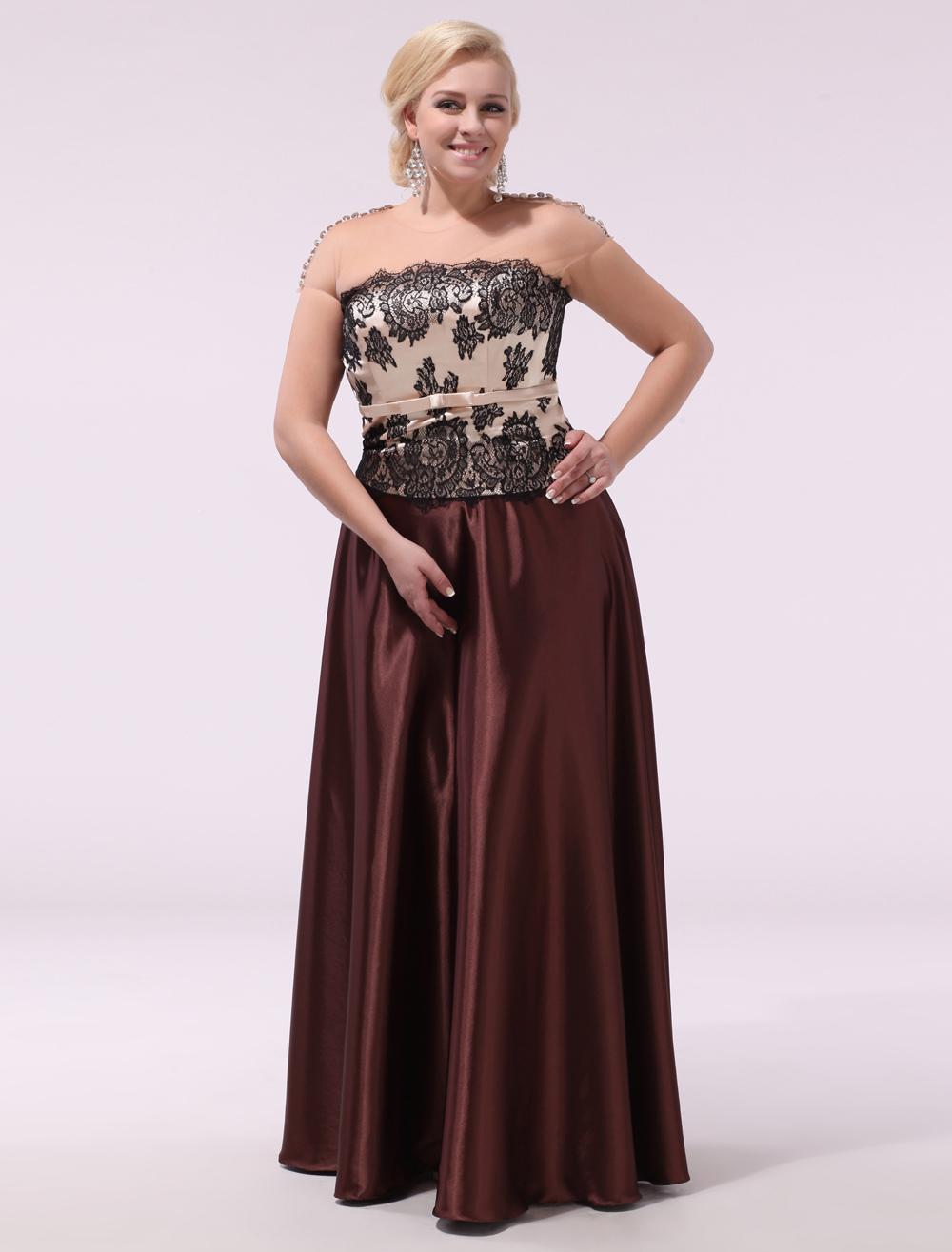 Plus Size Prom Dresses Strapless Long Formal Dress Dark Brown Lace Satin Floor Length Evening Dress Milanoo (Wedding Evening Dresses) photo