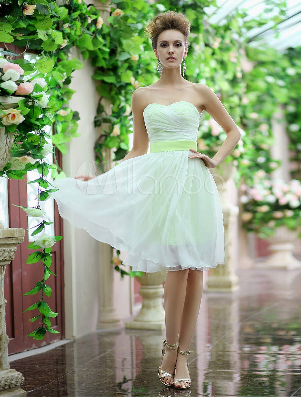 Lime Green Strapless Sash Bow Lace Up Organza Bridesmaid Dress Milanoo