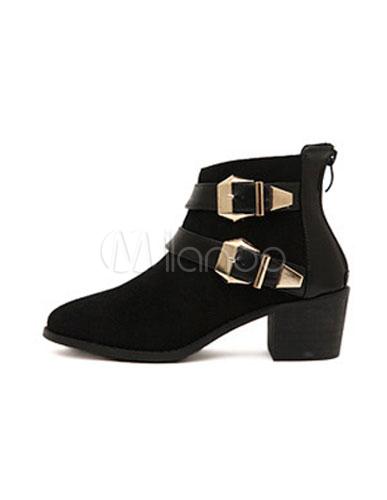 beliebte ankle boots aus rindleder mit schnallen und. Black Bedroom Furniture Sets. Home Design Ideas