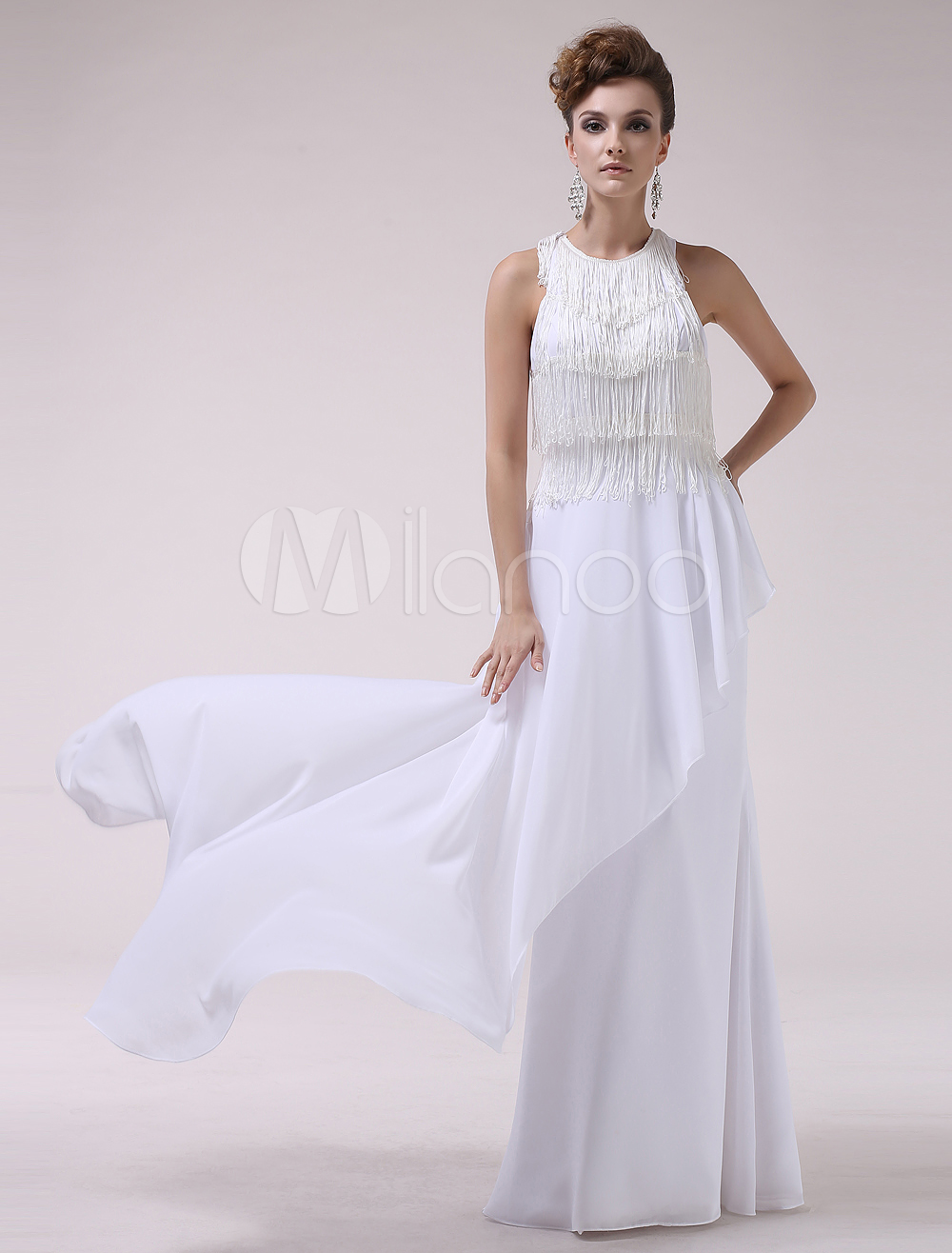 White Jewel Neck Tassel A-line Sleeveless Chiffon Evening Dress Milanoo (Wedding Evening Dresses) photo