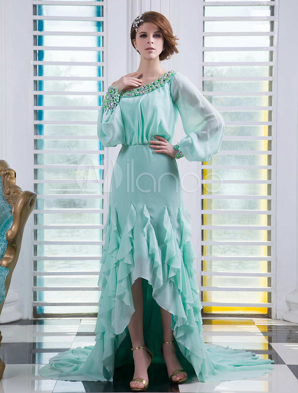 Mint Green One-Shoulder Long Sleeves Beading Sheath Chiffon Prom Dress Milanoo (Wedding Prom Dresses) photo
