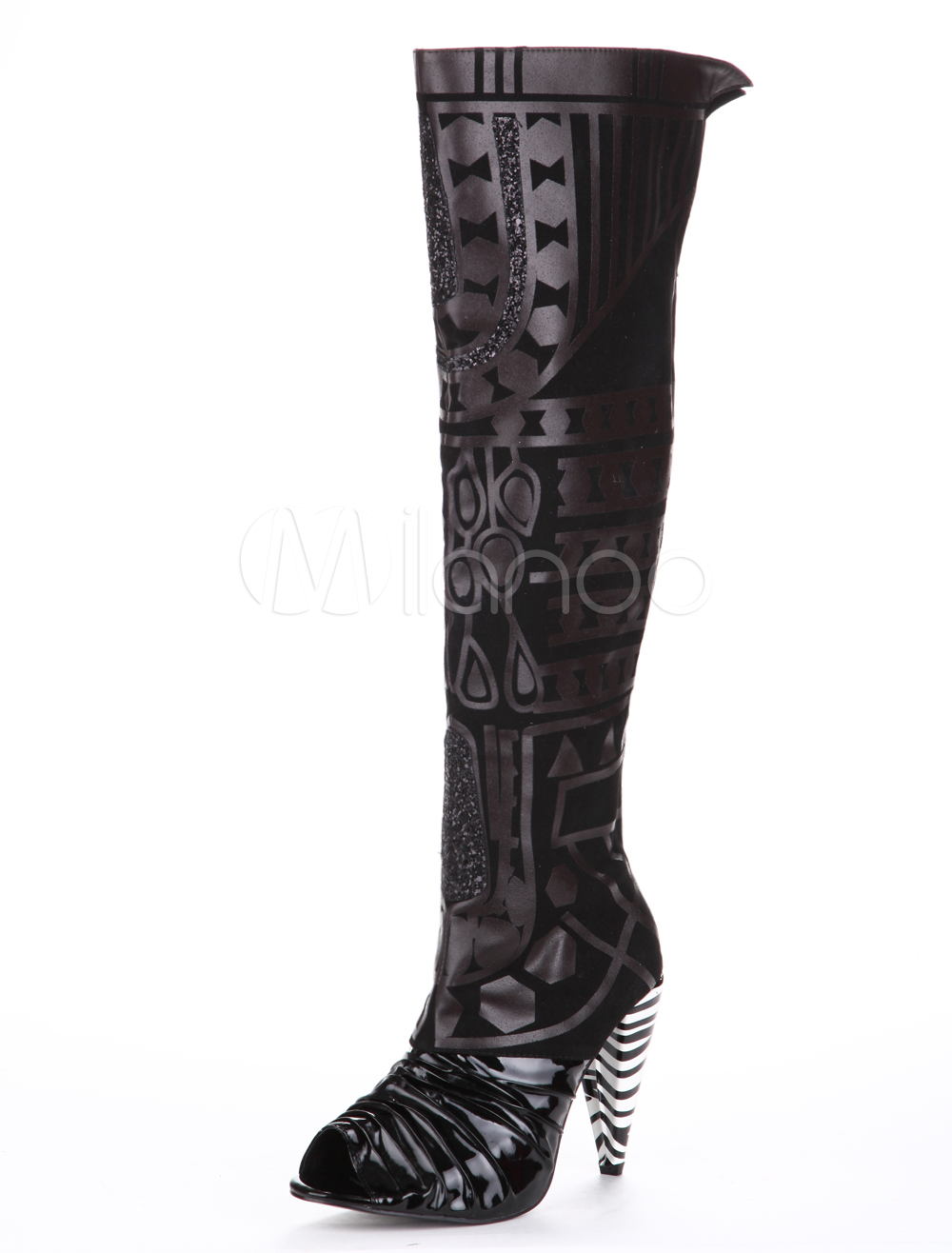 Thigh High Boots Sexy Multicolor Peep Toe PU Leather Over Knee Boots For Women thumbnail