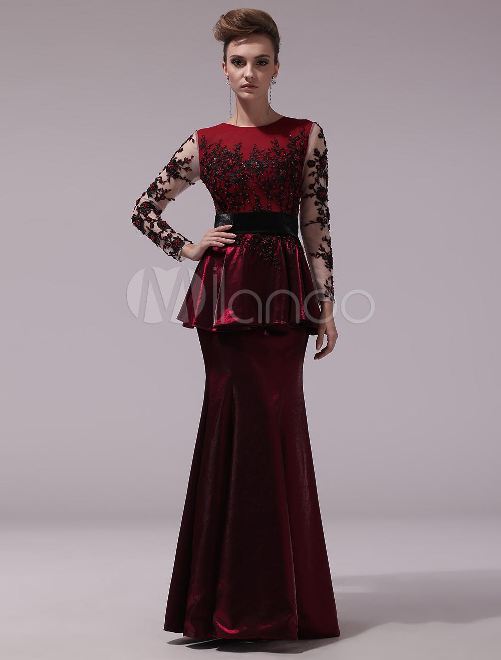 Burgundy Peplum Jewel Neck Long Sleeves Mermaid Evening Dress Milanoo (Wedding Evening Dresses) photo