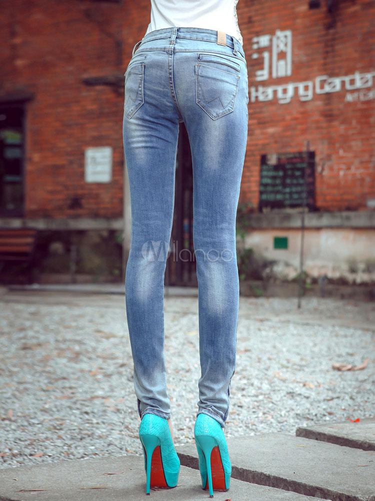 jean femme coupe slim en denim bleu clair taille basse
