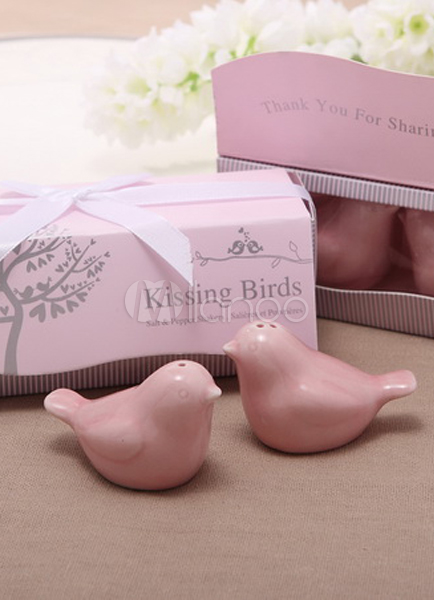 Pink Wedding Favors Bird Shape Ceramic Salt Papper Shaker