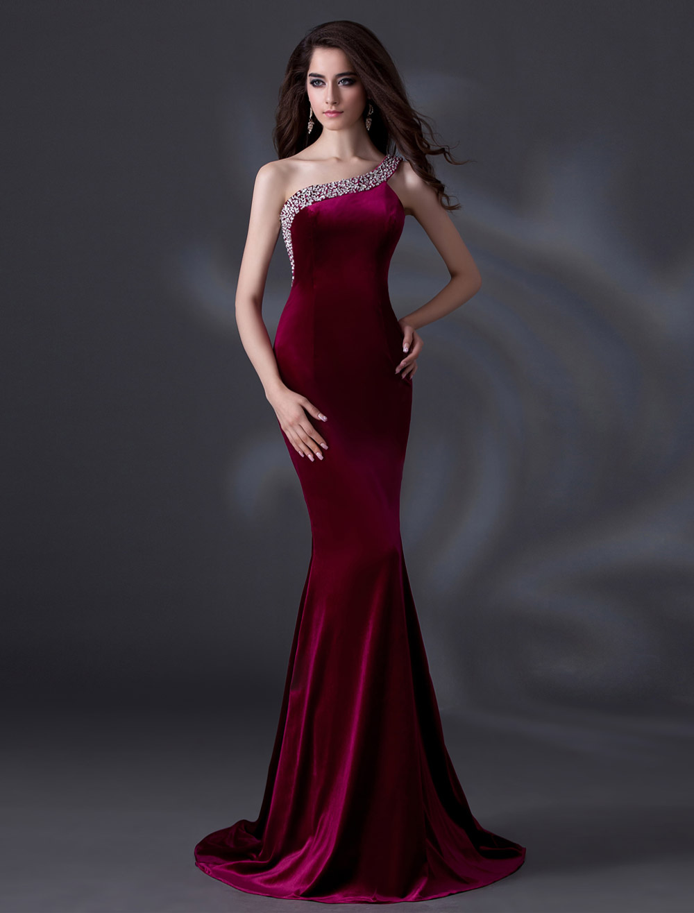 Elegant Burgundy One-Shoulder Beading Mermaid Velvet Evening Dress