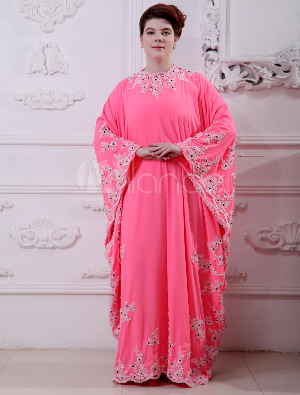 Pink Beading Jewel Neck Long Sleeves Chiffon Evening Dress (Wedding Evening Dresses) photo
