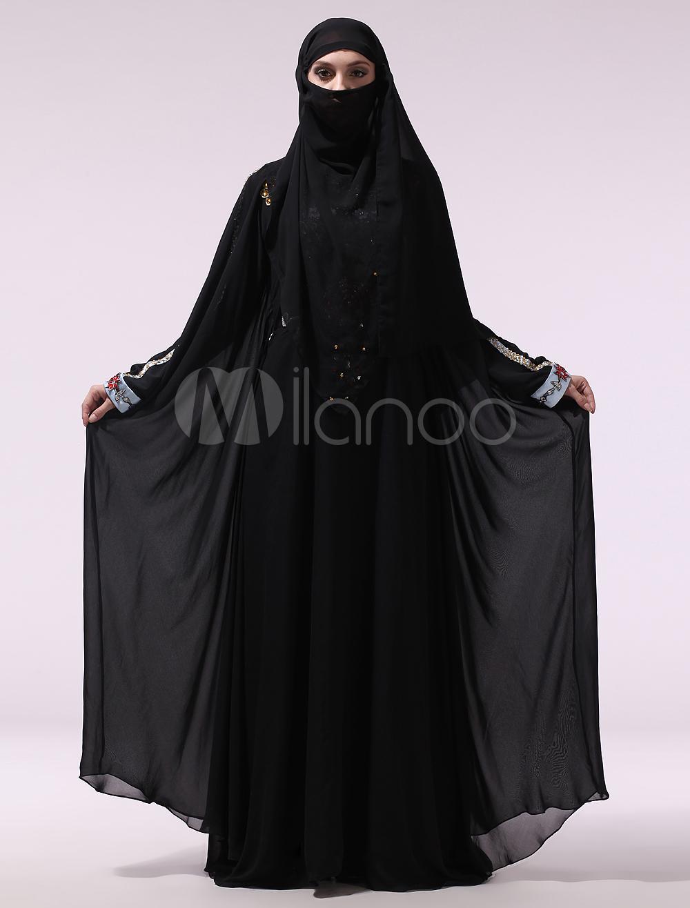 Black Beading Turtleneck Long Sleeves Chiffon Muslim Evening Dress (Wedding Evening Dresses) photo