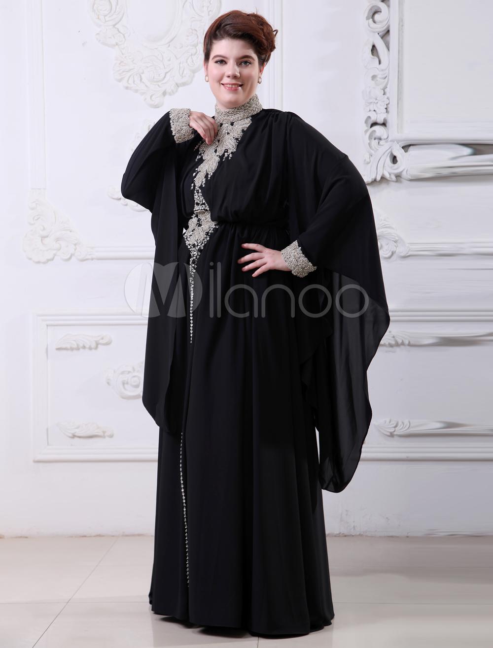 Black High Collar Applique Long Sleeves Chiffon Evening Dress (Wedding Evening Dresses) photo