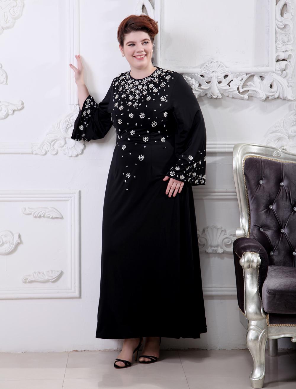 Black Beading Jewel Neck Long Sleeves Chiffon Evening Dress (Wedding Evening Dresses) photo