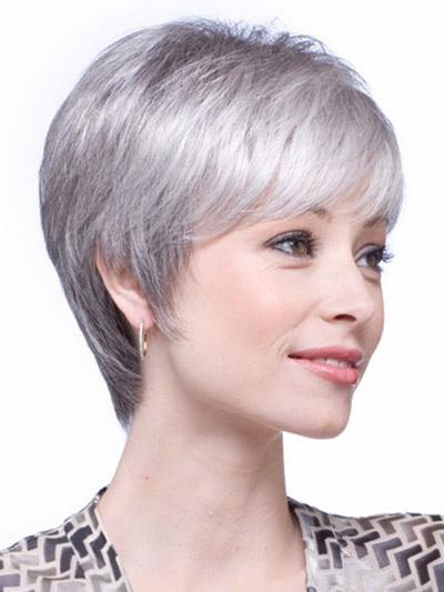 perruque femme courte droite grise d grad e en fibre de coupe boyish. Black Bedroom Furniture Sets. Home Design Ideas