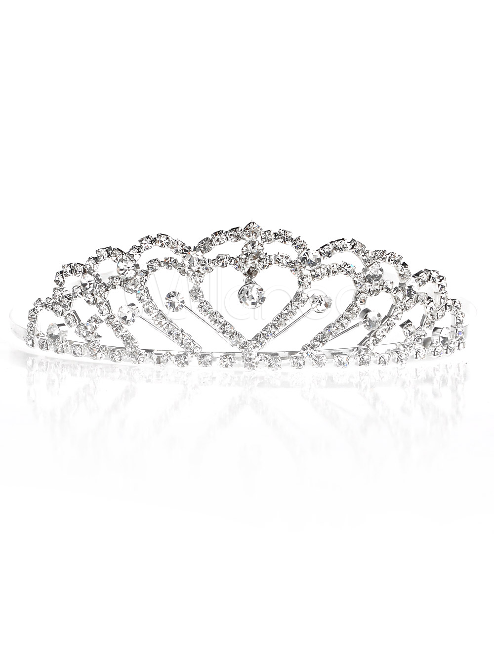 Gorgeous Silver Square Round Brilliant Rhinestone Tiara For Wedding image