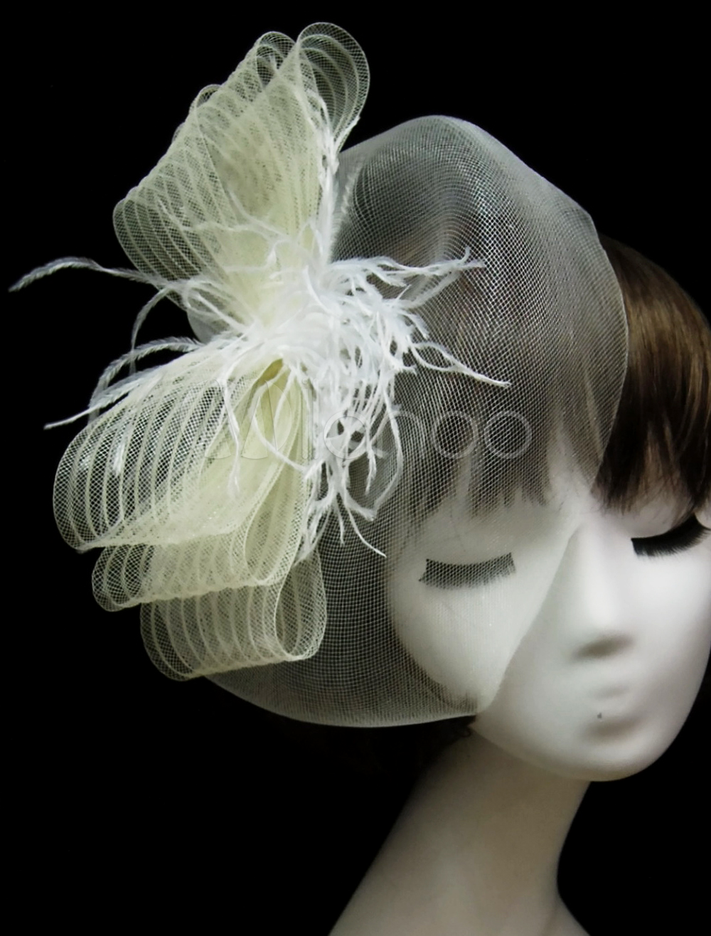 Ivory Feather Mesh Quality Birdcage Veil for Wedding