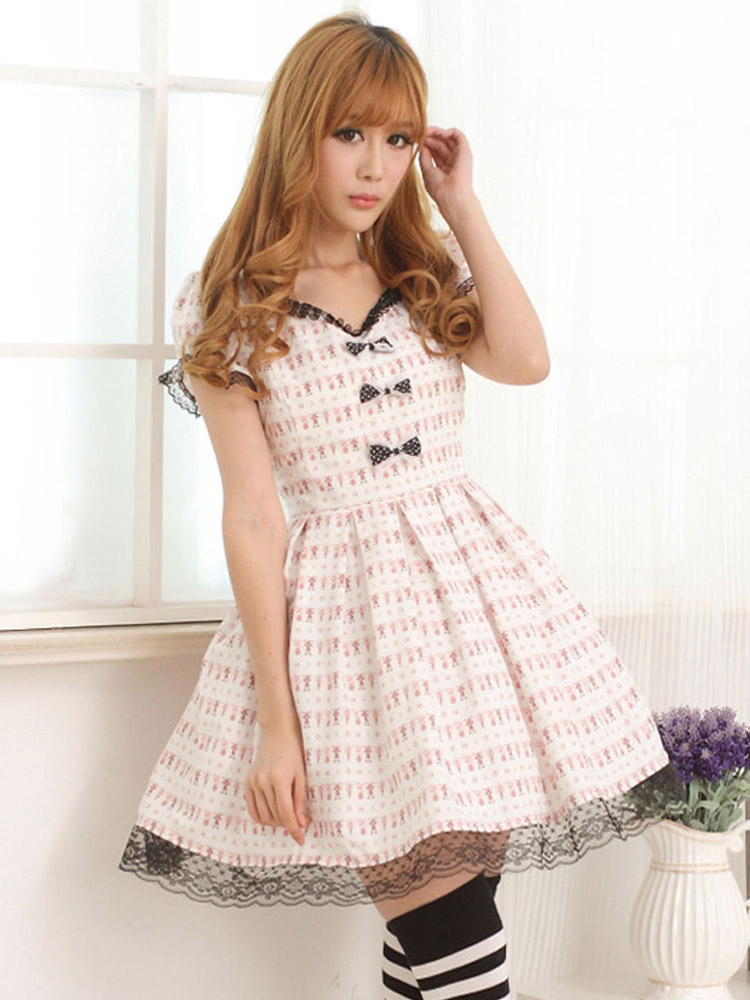 Light Pink White Lolita OP Dress Short Sleeves Lace Trim Bows (Costumes) photo