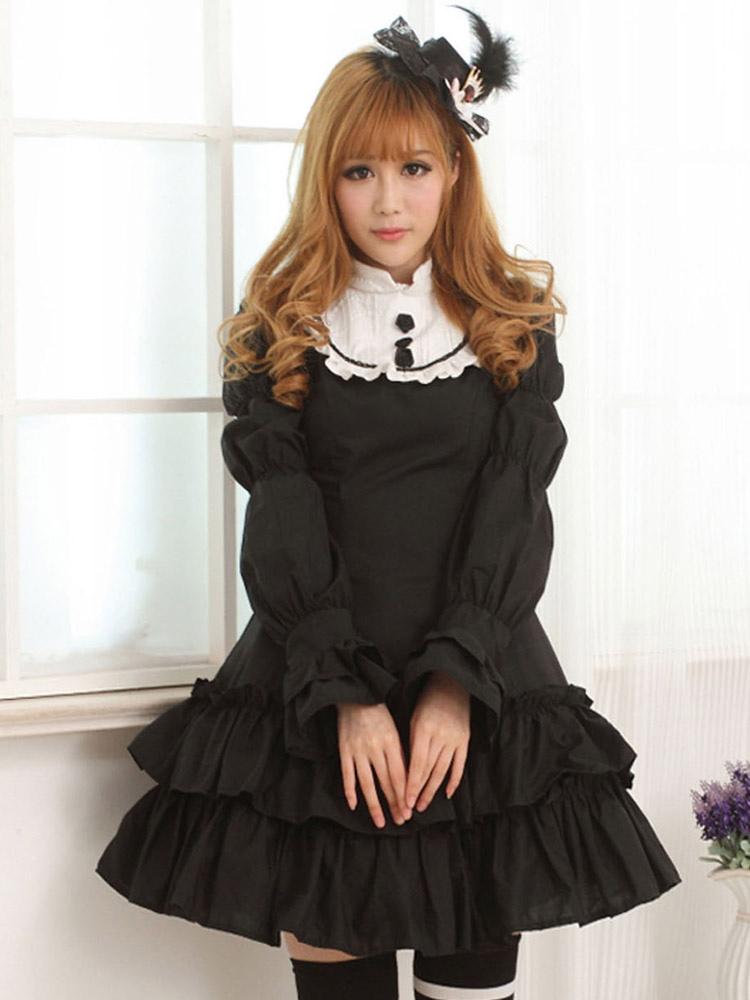 karneval schwarzes lolita kleid mit langen rmeln und. Black Bedroom Furniture Sets. Home Design Ideas