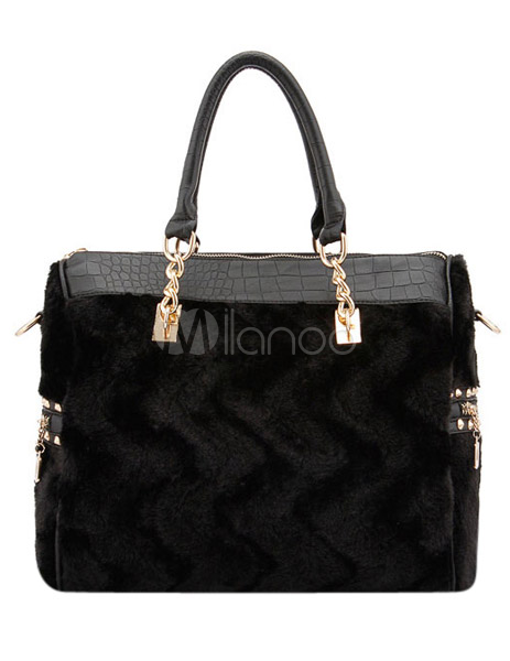 Crocodile Horizontal Shape Faux Fur Pretty Shoulder Bag For Woman