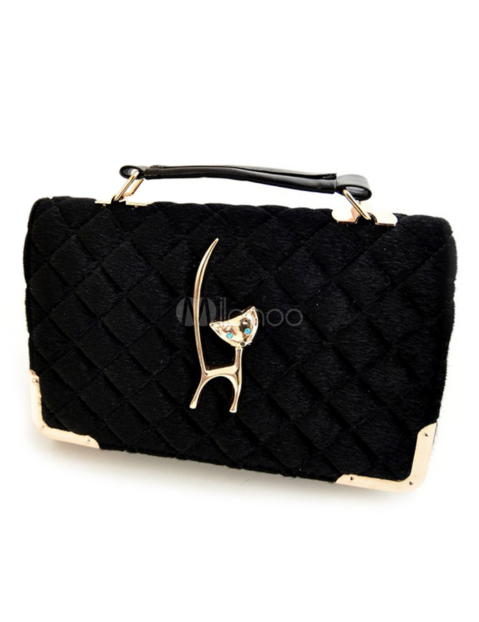 Stylish Cat Pattern Black Faux Fur Women's Shoulder Bag