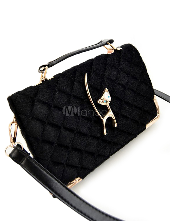 Black Quilted Horizontal Shape Faux Fur Cat Pattern Shoulder Bag For Woman