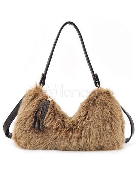 Fashion Horizontal Shape Fur Faux Fur Women's Tote Bag