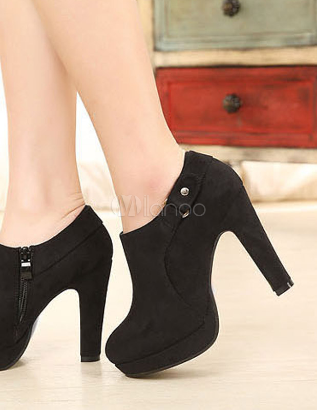 schwarze ankle boots aus frottierstoff mit plattform und. Black Bedroom Furniture Sets. Home Design Ideas