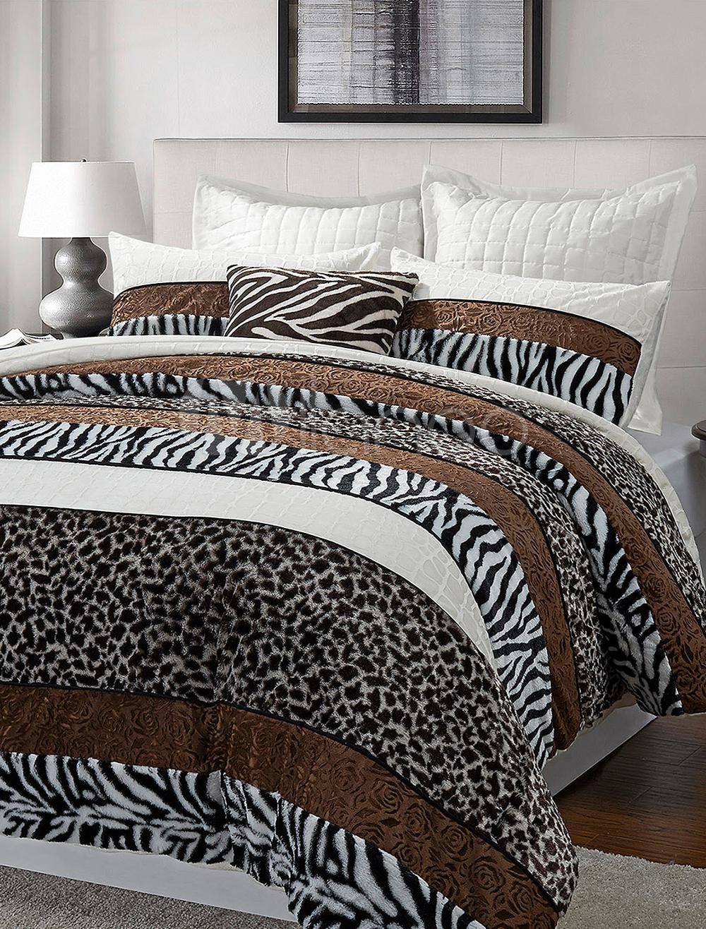 linge de lit en polyester motif l opard z br 3 pi ces. Black Bedroom Furniture Sets. Home Design Ideas