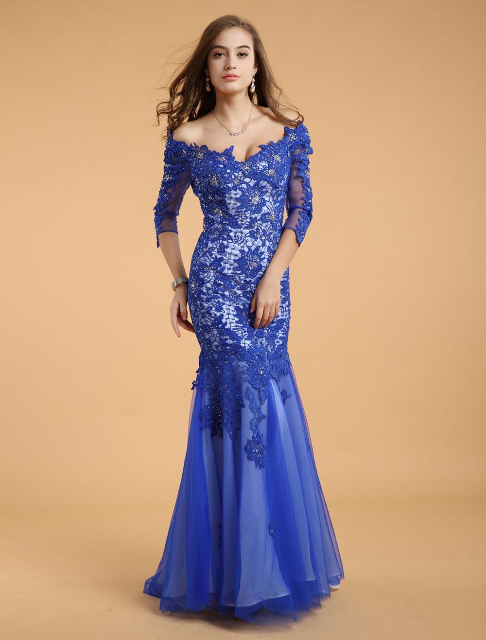Robe de soir e sir ne en dentelle bleue royale col for Robe bleue royale pour mariage