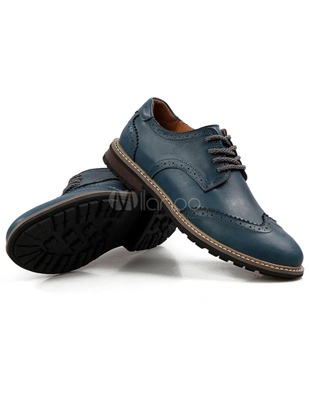 Scarpe Matrimonio Uomo Blu : Profondo blu punta rotonda vacchetta elegante casual