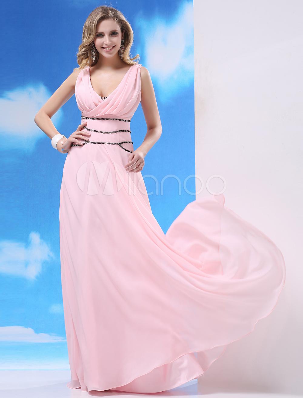 Chiffon Evening Dress Soft Pink V Neck Beaded Prom Dress Sleeveless Pleated A Line Floor Length Party Dress Milanoo