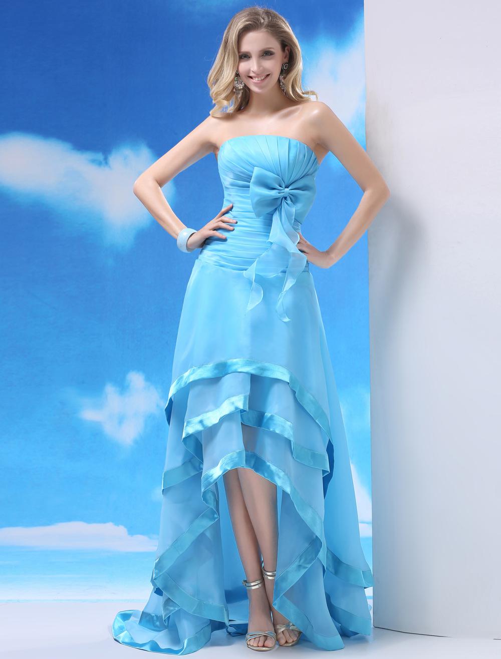 Light Sky Blue Strapless Bow A-line Asymmetrical Trim Prom Dress Milanoo (Wedding Prom Dresses) photo