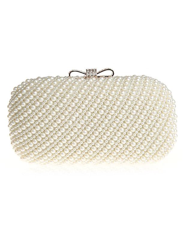 pochette de soire en perle cru blanc unicolore avec noeud bandoulire no1 - Pochette Mariage Ecru