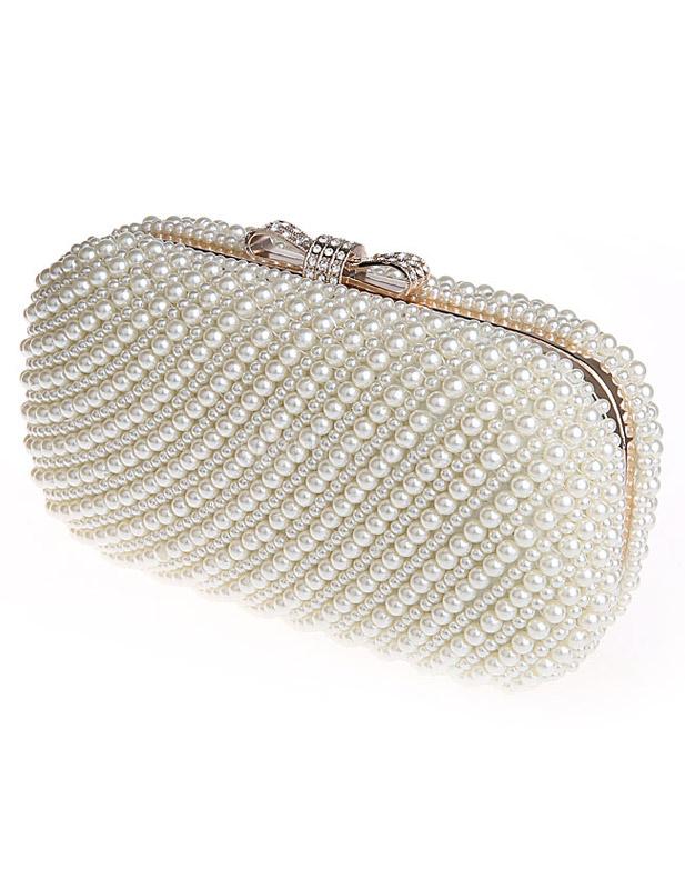 pochette de soire en perle cru blanc unicolore avec noeud bandoulire no2 - Pochette Mariage Ecru