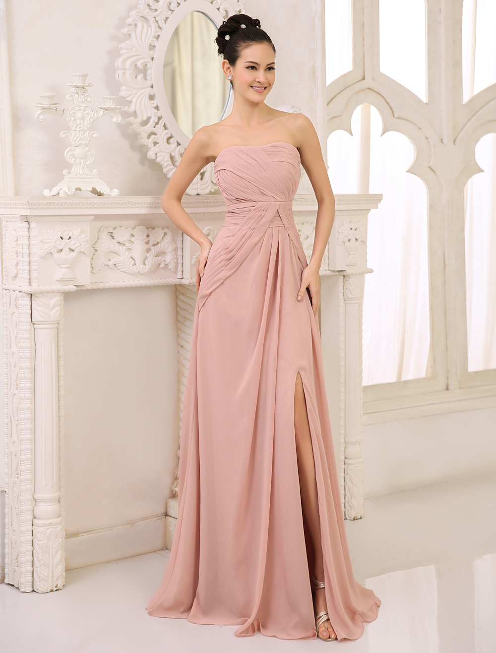 Chiffon Bridesmaid Dress Blush Pink Ruched Prom Dress Strapless Sleeveless Split Floor Length Party Dress