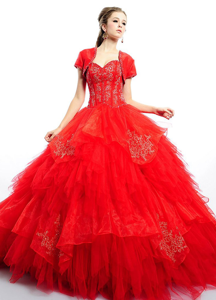 Elegant Ball Gown Red Floor Length Tulle Quinceanera Dress (Wedding Quinceanera Dresses) photo