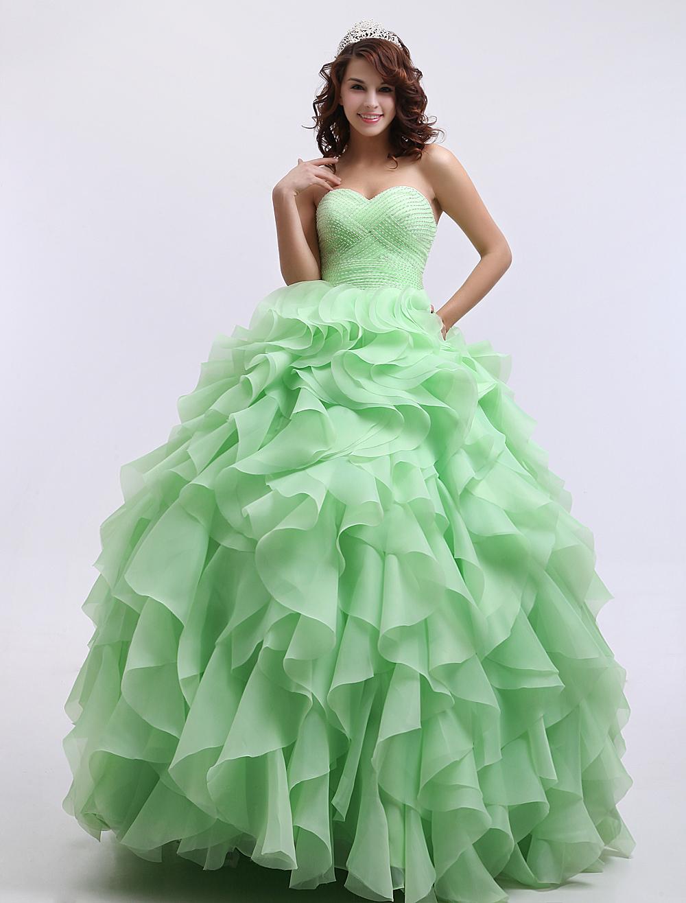 Neon Green Quinceanera Dress Sweetheart Beaded Prom Dress Organza Strapless Sleeveless Ball Gown Floor Length Party Dress Milanoo (Wedding Quinceanera Dresses) photo