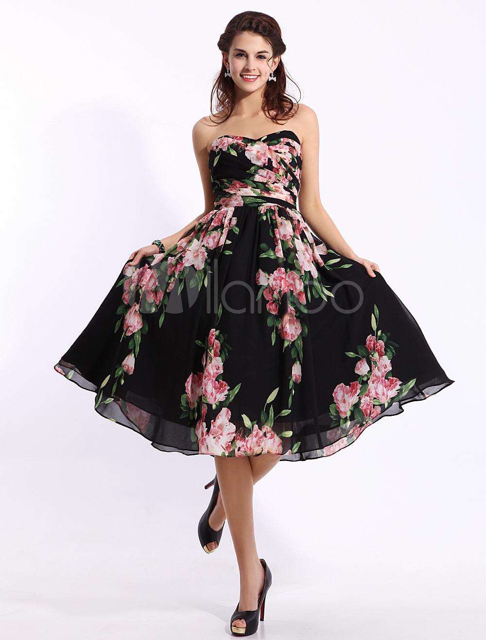Black Prom Dresses 2018 Short Strapless Floral Print Cocktail Dress Sweetheart Chiffon Party Dress Wedding Guest Dress Milanoo (Cocktail Dresses) photo