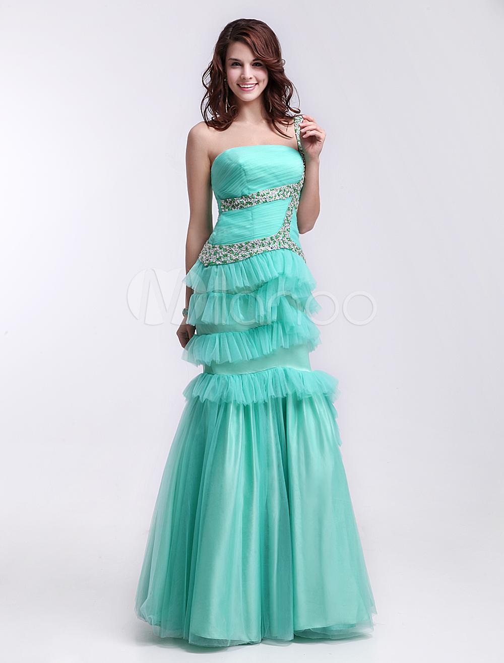 Fashion Mint Green Strapless Floor Length Tiered Mermaid Prom Dress Milanoo (Wedding Prom Dresses) photo