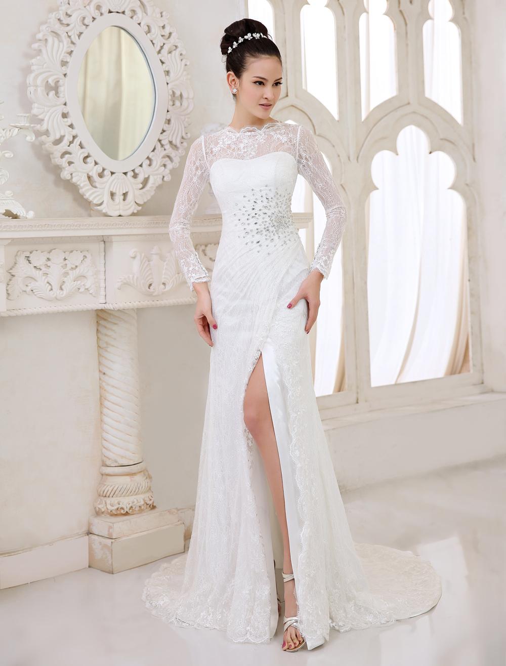 Robe de mariée avec fente devant - Milanoo.com