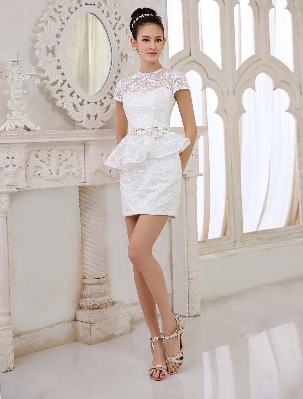 Ivory Bridal People Short Wedding Dress with Jewel Neck Sheath Milanoo photo
