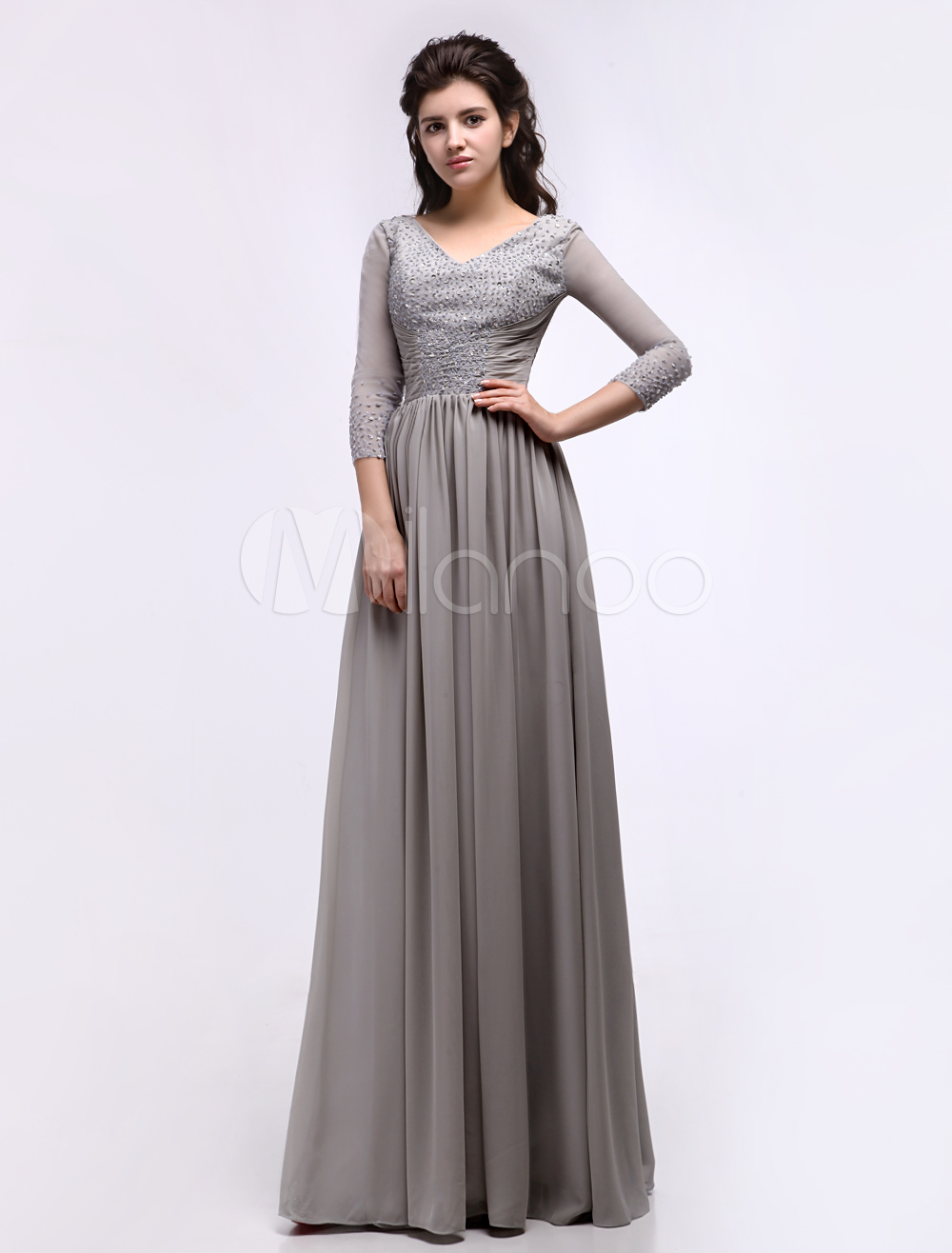 Silver Sheath V-Neck Ruched Chiffon Dress For Mother of the Bride with 3/4 Length Sleeves