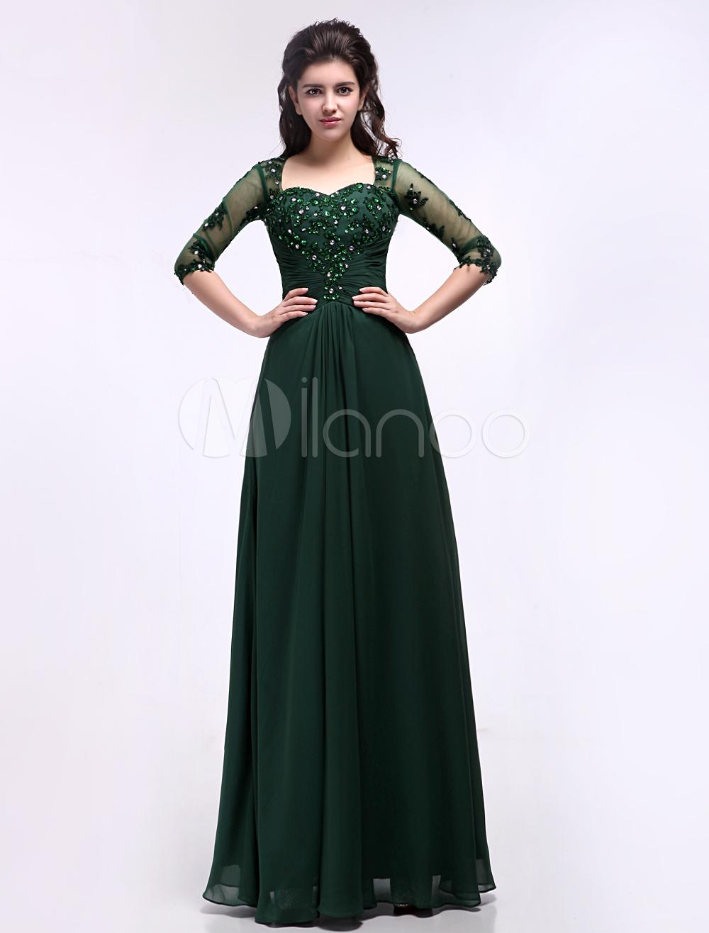 Dark Green A-line Sweetheart Neck Applique Chiffon Bridal Mother Dress with Half Sleeves (Wedding) photo