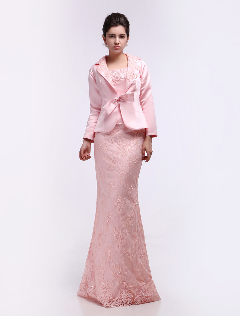Pink Sheath Straps Neck Applique Mother of the Bride Dress (Wedding) photo