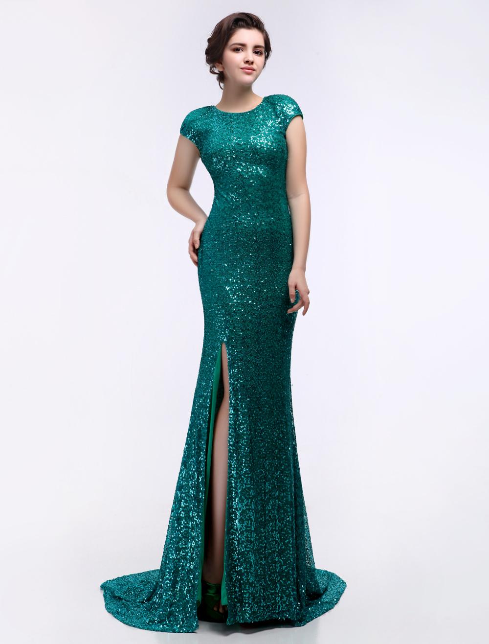 Dark Green Sequined Split Mermaid Prom Dress (Wedding) photo