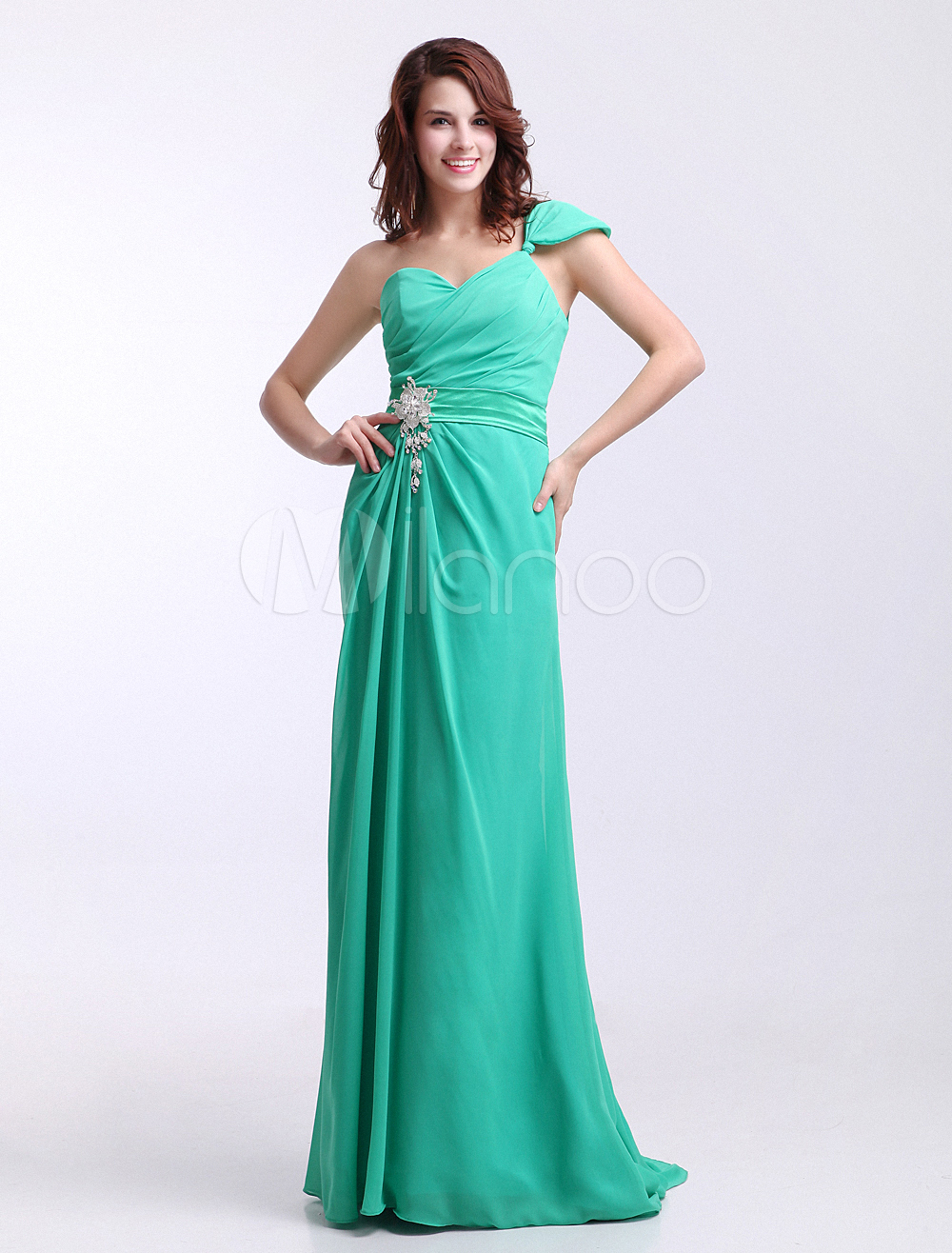 Forest Green Chiffon One Shoulder Side Draped Bridesmaid Dress Milanoo (Wedding Bridesmaid Dresses) photo